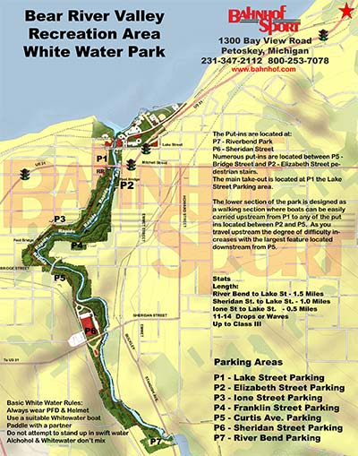Map of Bear River Valley Whitewater Park - Petoskey Michigan
