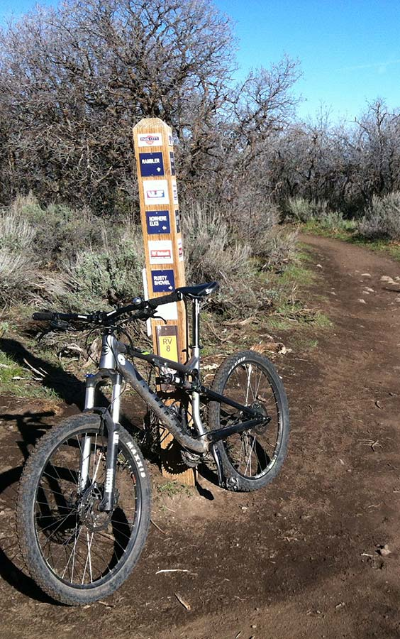 Bicycle on park city bicycle trail